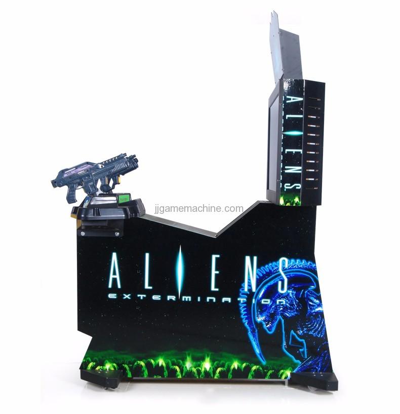 Adult alien  gun shooting arcade game machine side