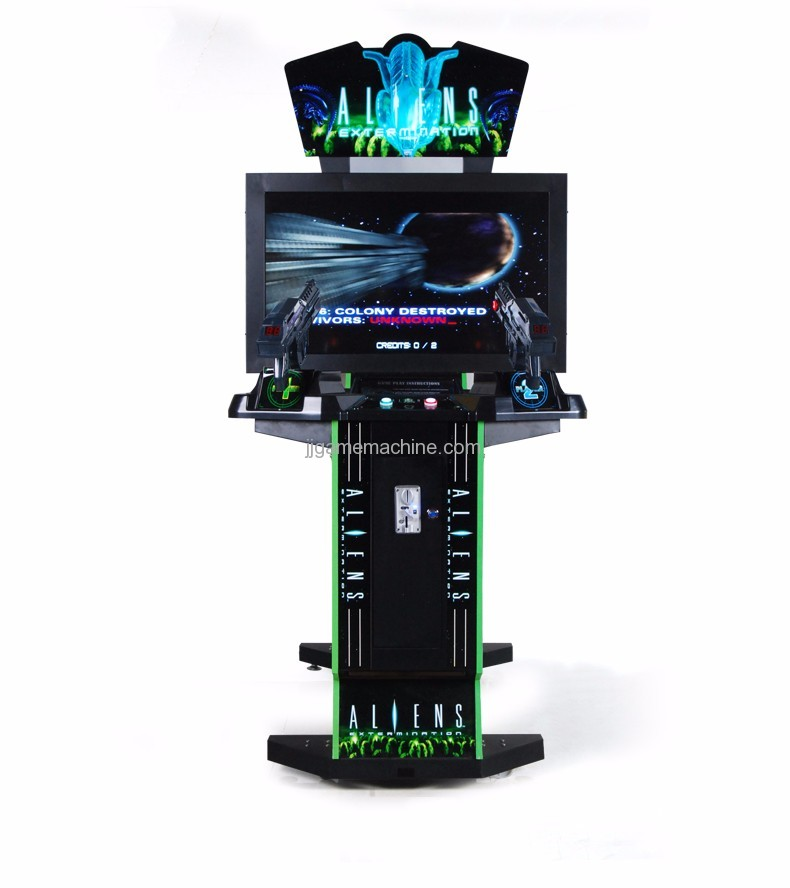 Adult alien  gun shooting arcade game machine front