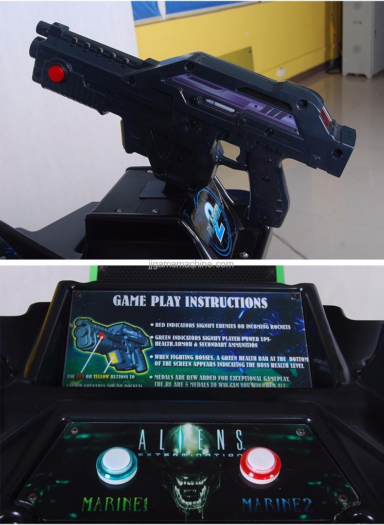 Adult alien  gun shooting arcade game machine gun