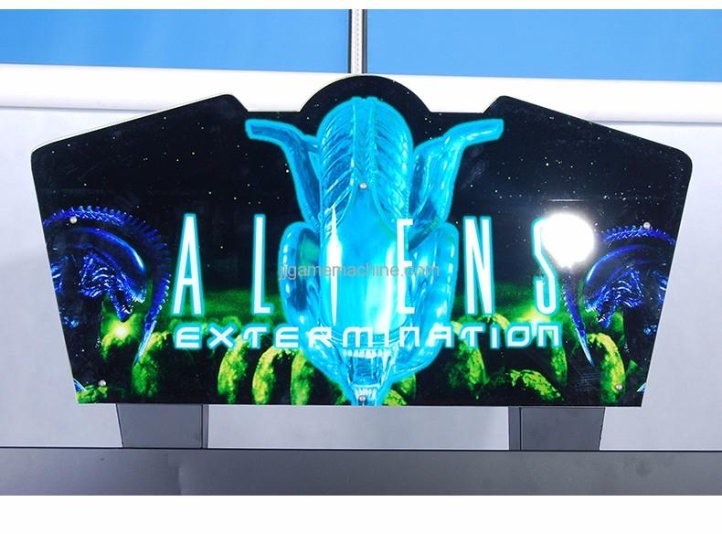 Adult alien  gun shooting arcade game machine logo