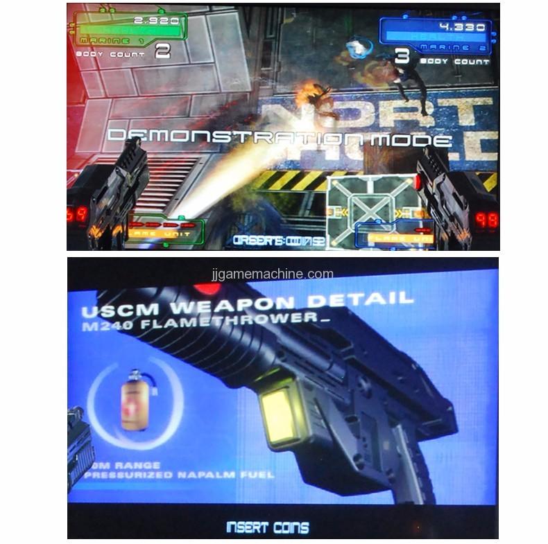 Adult alien  gun shooting arcade game machine screen
