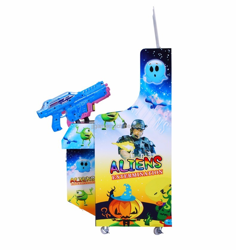 Children shaped double gun simulator shooting arcade kids game machine side