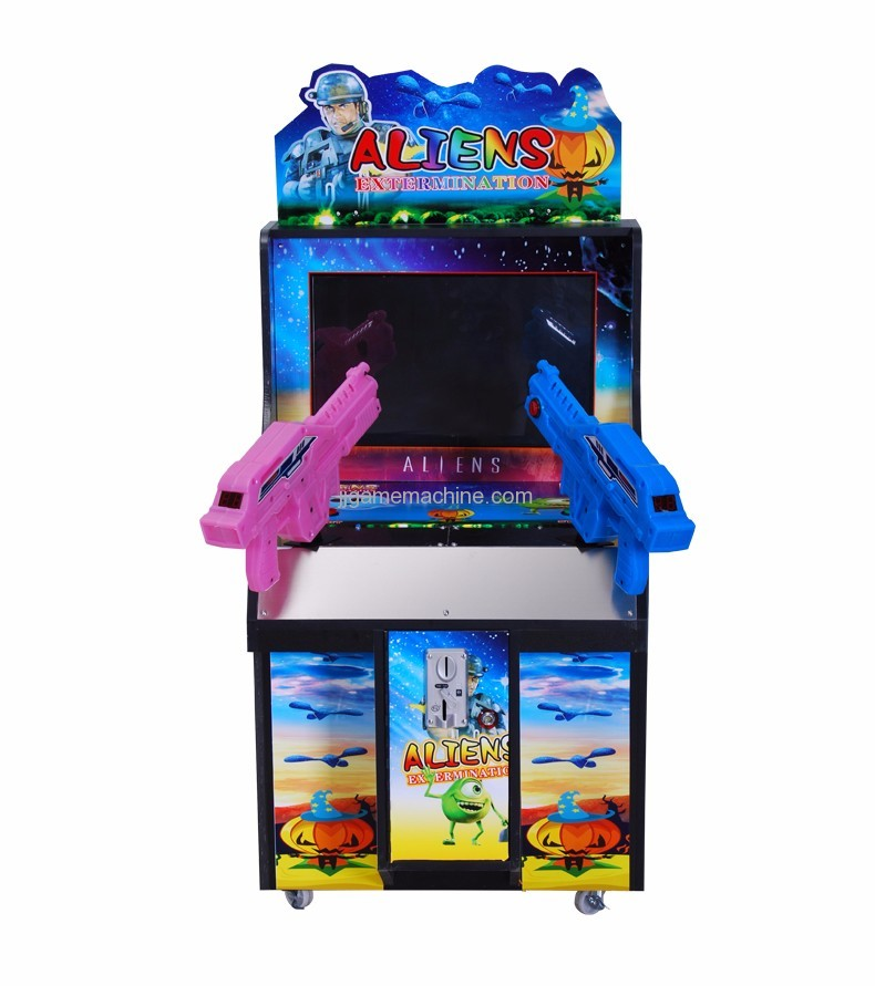 Children shaped double gun simulator shooting arcade kids game machine front