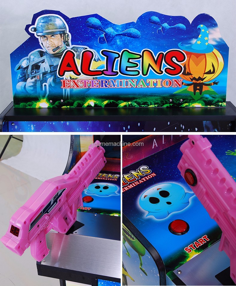 Children shaped double gun simulator shooting arcade kids game machine details