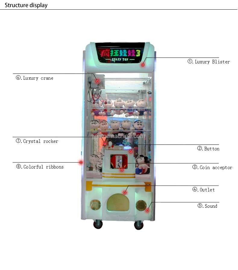 crazy toy crane claw game machine structure