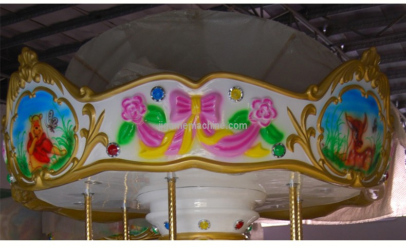 Luxury amusement park equipment 6 seats kids carousel horse