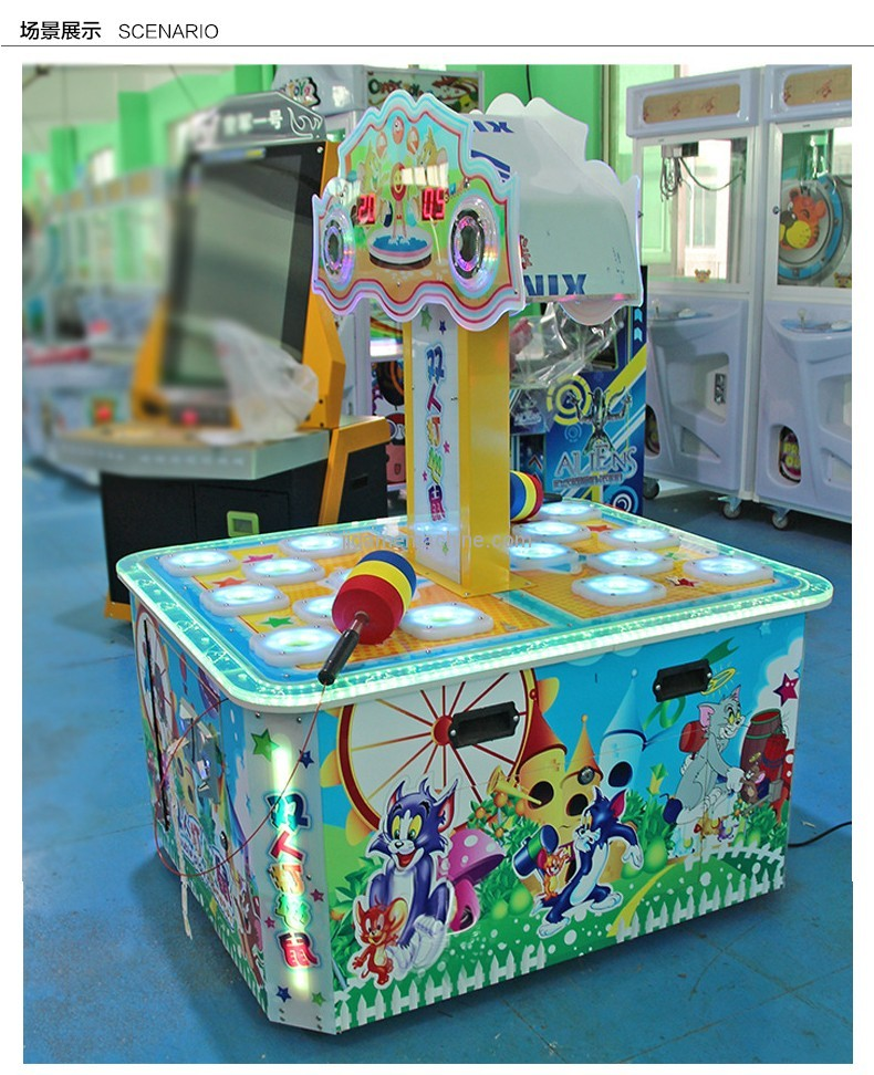 double players coin operated hitting game machines for kids whack-a-mole game