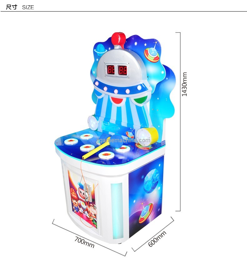Newest Cute coin operated whac a mole hitting hammer game machine for kids
