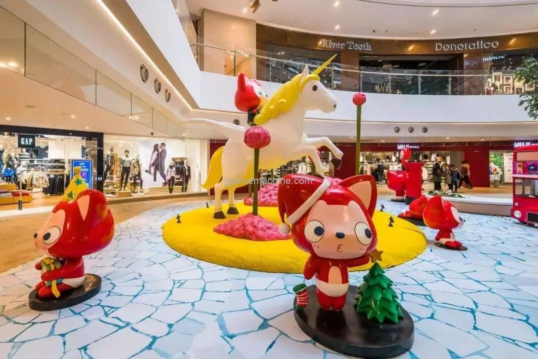 How do indoor parks become standard in shopping malls?