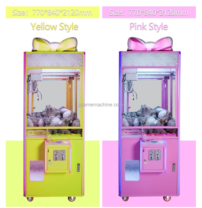 Chinese coin operated transparent bowknot big space claw game machine
