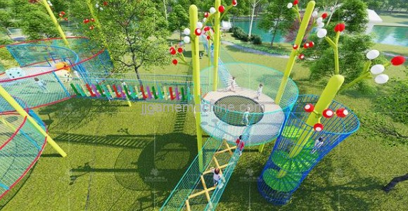 How is the children's playground designed to look good and fun?